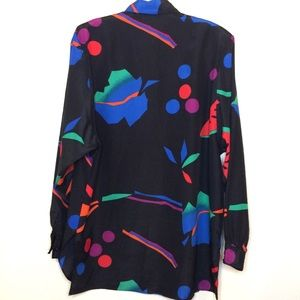 Vintage Tops - Vintage shirt dress long blouse abstract print Vtg